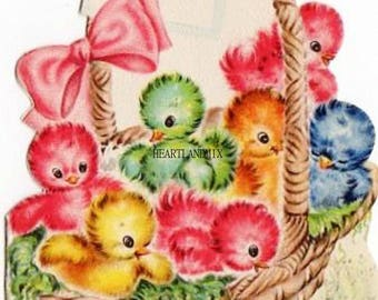 Vintage Easter Digital Image Postcard Instant Download Printable Colored Easter Chicks
