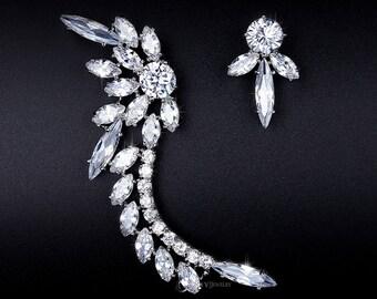 Ear Cuff Earrings - Asymmetric Earrings - Unique Earrings - Ear Climbers - Climbing Earring - Cubic Zirconia - Ear Crawler - Crystal -AE0209