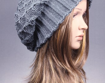 Slouchy Beanie, Slouchy Hat, Women Slouchy Hat, Women Slouch Beanie, Knit Hat, Gray Beanie, Slouch, Winter Hat,  Chunky Knit Hat, Baggy Hat