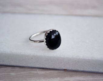 Large Black Onyx - Sterling Silver Ring - Natural onyx gemstone