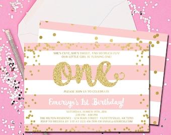 First Birthday Invitation, 1st Birthday Invitation, Birthday Invite, Pink and Gold, Blush Pink, Gold Faux Glitter, Printable 5x7