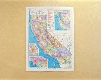 1954 - California Map - Large Antique Map - Beautiful Old Map of California - Vintage Map - Colorful Atlas Map - Gift - Home Decor