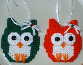 PAIR of OWLS - Hand Crafted Plastic Canvas Ornaments - Set of 2 - Holiday, Christmas