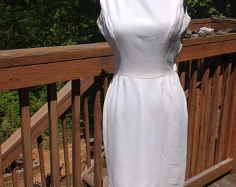 1960s Vintage Handmade Bright White Nylon Sleeveless Crepe Wiggle Dress. Boatneck with deep, square back, side zipper Clean!