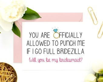 Funny Bridesmaid Cards, Funny Asking Cards, Bridesmaid Ask Cards, Will You Be My Bridesmaid, Be My Maid of Honor