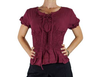 LACE FRONT BLOUSE - Pirate Renaissance Festival Costume Chemise Gypsy Top Pirate Steampunk Shirt Corset Top Vivid - Maroon