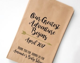 Greatest Adventure Baby Shower Favor Bags ~ Personalized Treat Bags, Popcorn Bags, Candy Bags, Candy Bar Buffet Bag, Paper Bags
