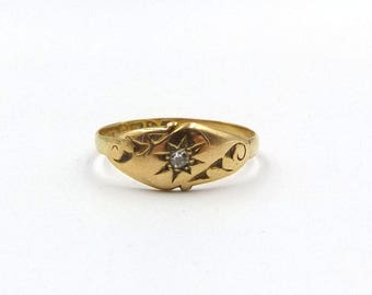 Antique 18ct Gold Diamond Ring | Antique 18k Gypsy Set Ring | UK size 7 1/2 ~ US size 0 1/2