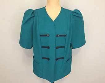 Womens Jackets Blazers Military Style Jacket Sgt Pepper Jacket Sailor Short Sleeve Teal Green Size 16 Size 18 Womens Plus Size Clothing