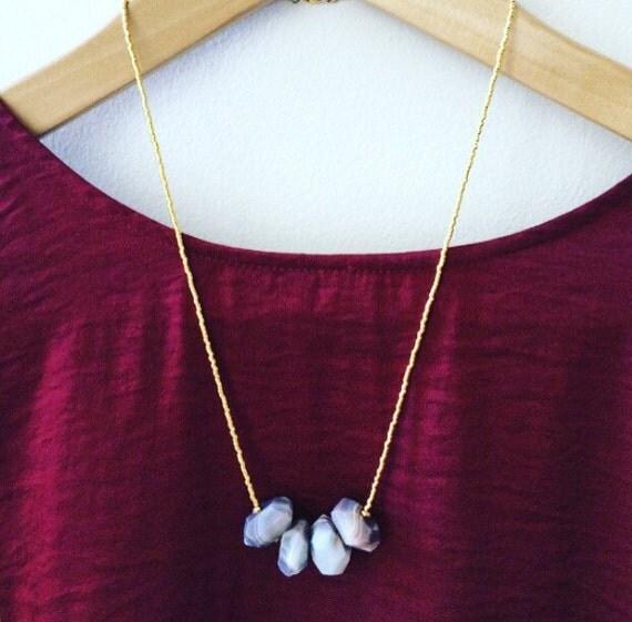 Minimalist beaded gold necklace with Botswana agate, 24k gold plated Miyuki bead necklace,