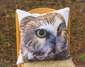 Saw Whet Owl Decorative Throw Pillow - Wildlife Home Accent - Cabin or Cottage Decor