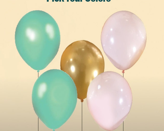 Mint, Gold, and Light Pink Balloon Sets - 10+ Balloons Pick Your Colors,  Mint and Gold Party Decor, Gold and  Mint Wedding Decor