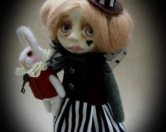 Alice in Wonderland with White Rabbit. Art doll. Steampunk. Needle felted doll. Clay doll. OOAK. Steampunk doll. Wool doll. Interior doll