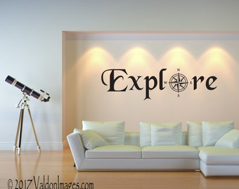 Explore Wall Decal, Travel Decor, Living Room Decal, Travel Wall Decal,  Wanderlust