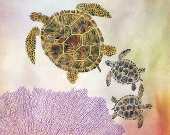 Gyotaku Print of Sea Turtles