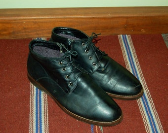 Men Size 9 Vintage Black Ankle Winter Boots