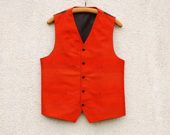 Orange Silk Waistcoat Orange Vest Mens Waistcoat Silk Mens Vest Medium Size Edwardian Victorian Renaissance Steampunk Baroque
