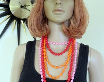 3 x Vintage 60s plastic necklaces - fab warm shades look brilliant together