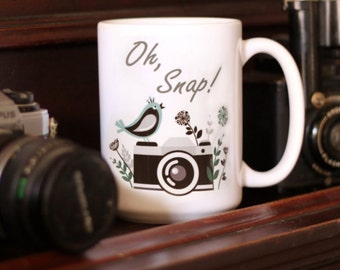 Photographer Gift, Photographer Mug, Photography Gift, Editing Day Mug, Camera Mug, Photography Mug, Wedding Photographer, Oh Snap, Camera