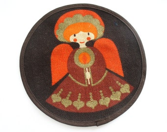 Small Sødahl Design jute place mat with angel, Christmas table setting