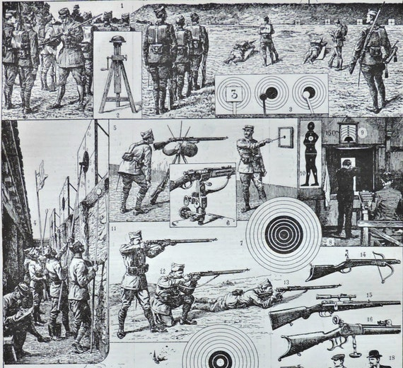 Shooting sport at the beginning of 20th. Old book plate, 1922. Antique  illustration. 95 years lithograph. 8'1 x 11'4 inches.