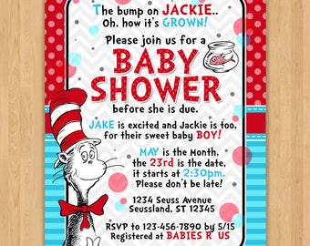 Cat in the Hat Inspired Baby Shower Invitation