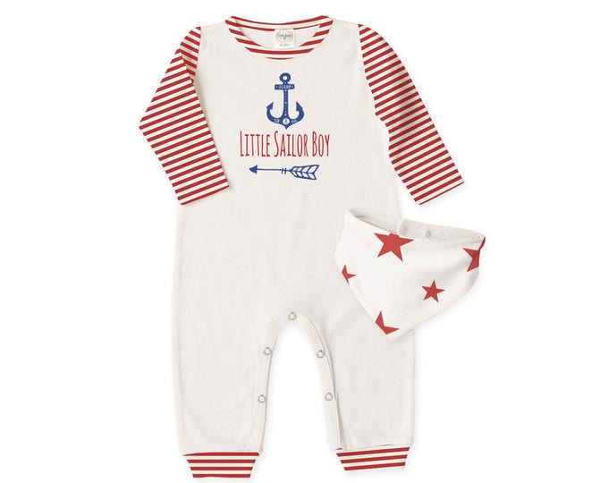 Baby Boy Fourth of July Outfit, Newborn Boy Coming Home Outfit, Baby Boy Romper, Baby Boy Bib, Little Sailor Outfit Tesababe RB81IYIR22SSLI