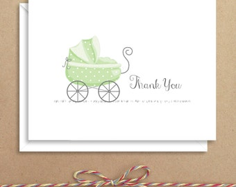 Green Carriage Baby Note Cards - Baby Shower Thank You - Baby Thank You Notes - Illustrated Note Cards