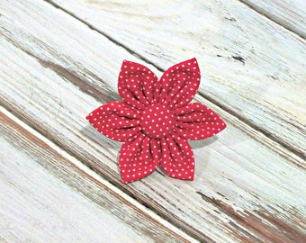 Red Pin Dot Flower for Dog collar, Cat collar, collar flower, pet collar flower, wedding flower, flowers for dog collars