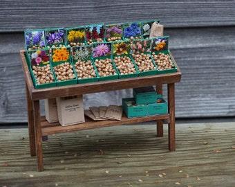Dollshouse Miniature Garden Bulb Display Counter