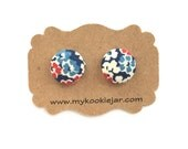 America Patriotic Earrings, Red Blue White Floral Earrings, Red White Floral Studs,  4th of July Earrings, Memorial Day Earrings, Team USA