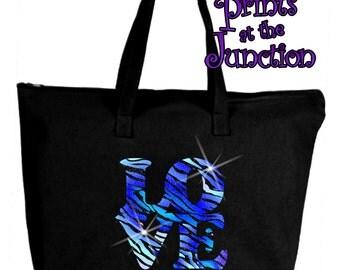Love Glitter Animal Print Tote Bag/Tie Dye Love Zebra Print Tote/Glitter Blue/Purple Love Shopping Bag/Bling Zebra Print Glitter Gift Bag