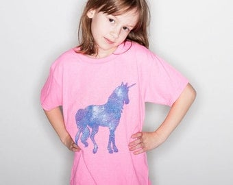 Girl's Unicorn Tshirt Little Girls Unicorn Shirt Youth Clothing Kid's Unicorn Tshirt « G500Bazalea «« (crew, tee) «