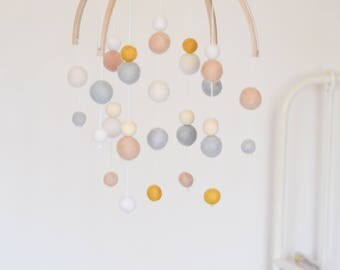 Baby mobile, pale grey, baby pink, white, mustard & wood