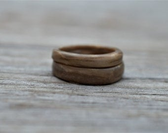 "Petrified Wood ""Tree Branch"" Ring Bands"