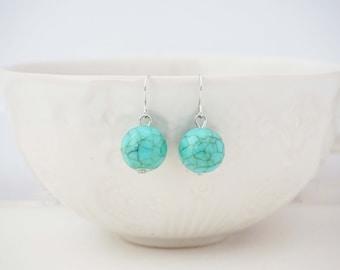 Turquoise Bead Silver Earrings