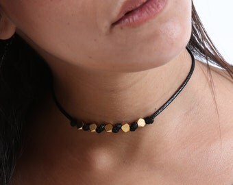 Gold Beads Choker - Minimal Choker - Beaded Choker - Black Choker - Gold Choker - Simple Choker - Thin Choker - Collar Necklace - Boho