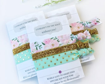 Will You Be My Bridesmaid Hair Ties, Bridesmaid Proposal, I Couldn't Tie The Knot Without You Hair Ties, Flower Girl and Bridesmaid Gift