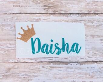 Crown Monogram/Princess Decal/Crown Decal/Name Decal/Monogram Sticker/Personalized Decal/Monogram Decal/Crown Name Decal/Queen Name Decal