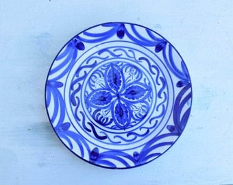 Decorative Plate, Blue and White, Blue Decor, Display Plate, Collectible Plate, Pintado Plate, Wall Art, Geometric, HNOS Martinez, Cottage