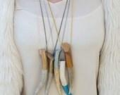 Statement Metallic Antler Necklace-- Large Antler Necklace- Hand Painted Necklace- Boho Necklace