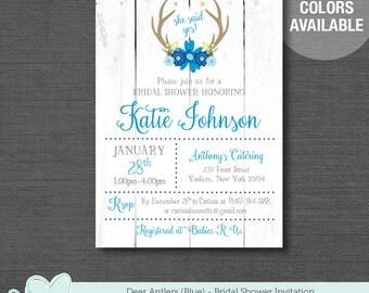 Deer Antlers Blue Bridal Shower Invitation Printable, Bridal Shower Invite, Deer Bridal Shower Invitation, Blue Bridal Invite, 22D