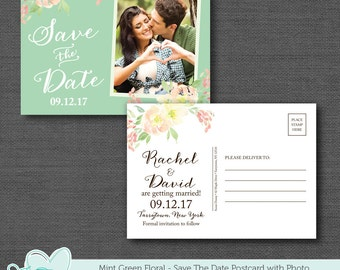 Mint Green Save The Date Postcard with Photo Printable, Save Our Date, Watercolor Floral, Flowers, Tying The Knot, Picture, Photograph, 11F