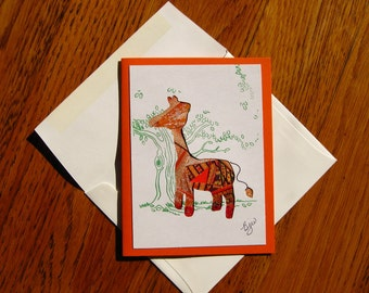 Homemade Iris Fold Giraffe Note Card, Blank All Occasion - with Giraffe Image Made of Colorful Repurposed Materials