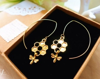 Gold Bee Earrings, Gold Honey Bee Jewelry, Honey Comb Earrings, Honeycomb Jewelry, Meant To Be Wedding Earrings, Bridesmaid Gift