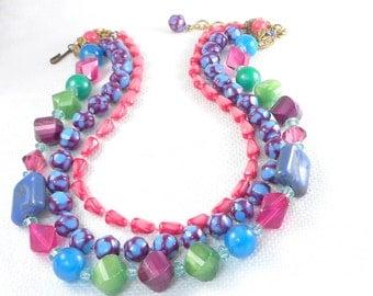Vintage Kramer Colorful Beads Necklace Kramer 3 Strand Beads Necklace 60's Kramer Bright and Colorful Bead Necklace  Mod Kramer Necklace