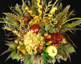 Silk Flower Arrangement,Rustic Tuscan Floral Arrangement,Faux Fruit Arrangement,Floral Table Centerpiece,Succulant Arrangment,Tuscan Decor