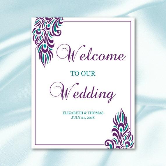wedding welcome sign template purple teal by weddingprintablesdiy. Black Bedroom Furniture Sets. Home Design Ideas