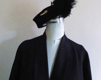 50s Black Hat, Veil, Feathers, Black, Gold, New York Creations, Size 22, Womens Vintage Hat, Vintage Accessory, Vintage Hat, Formal Hat