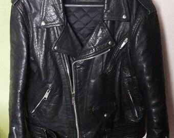 Vintage Leather Biker Jacket - Brando / punk / indie style - Size around 40 - Medium